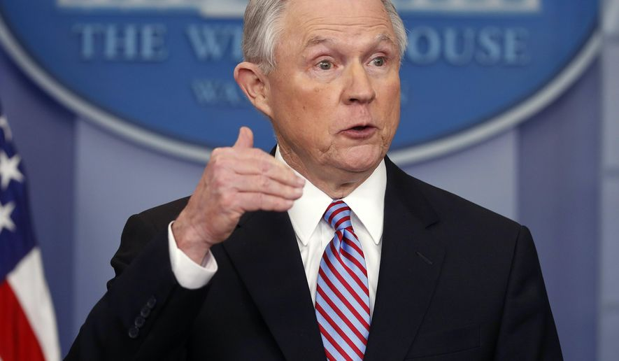 """FILE - In this March 27, 2017, file photo, Attorney General Jeff Sessions speaks in the Brady Press Briefing Room of the White House in Washington. An agreement negotiated under the Obama administration to overhaul the troubled Baltimore Police Department will go ahead despite objections from the Trump administration. Sessions is warning that the consent decree may """"result in a less safe city."""" (AP Photo/Pablo Martinez Monsivais, File)"""