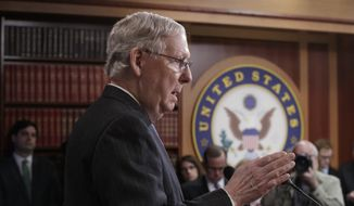 In this April 7, 2017, photo, Senate Majority Leader Mitch McConnell, R-Ky., talks to reporters before the vote to confirm President Donald Trump's Supreme Court nominee Neil Gorsuch, on Capitol Hill in Washington. The Senate confirmation of Gorsuch to the Supreme Court was vindication for Majority Leader Mitch McConnell, who made a risky bet more than a year ago that paid off big time for Trump and the Republican leader himself. (AP Photo/J. Scott Applewhite)