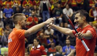 Serbia's Nenad Zimonjic, right, and his partner Viktor Troicki celebrate after winning their Davis Cup quarterfinal tennis doubles match against Spain's Pablo Carreno Busta and Marc Lopez, in Belgrade, Serbia, Saturday, April 8, 2017. (AP Photo/Darko Vojinovic)