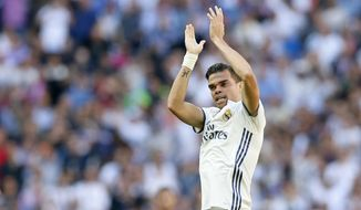 Real Madrid's Pepe celebrates after scoring a goal during a Spain's La Liga soccer match between Real Madrid and Atletico de Madrid at the Santiago Bernabeu stadium in Madrid, Spain, Saturday, April 8, 2017. (AP Photo/Daniel Ochoa de Olza)