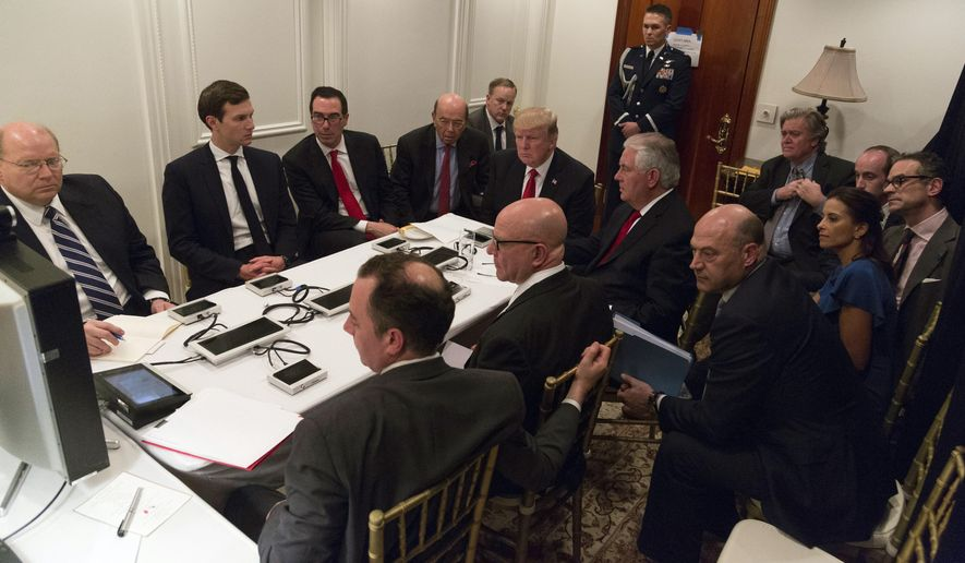 President Trump received a briefing on the Syria military strike from his national security team, including a video teleconference with Secretary of Defense James Mattis and Gen. Joseph F. Dunford, chairman of the Joint Chiefs of Staff, in a secured location at Mar-a-Lago in Palm Beach, Florida. (Associated Press)