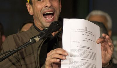 "Venezuelan opposition leader Henrique Capriles shows the document of his banned from running for office for 15 years, in Caracas, Venezuela, Friday, April, 7, 2017. Venezuela's President Nicolas Maduro called out Capriles on his television show Thursday night, after tens of thousands of Venezuelans shut down Caracas with a march against the socialist administration. He said followers of ""little Capriles"" were seeking a bloodbath. (AP Photo/Ariana Cubillos)"