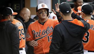 Baltimore Orioles' Manny Machado high-fives teammates in the dugout after scoring on a single by Welington Castillo in the fourth inning of a baseball game against the New York Yankees in Baltimore, Saturday, April 8, 2017. (AP Photo/Patrick Semansky)
