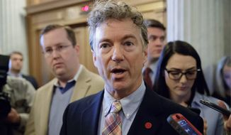 Sen. Rand Paul, Kentucky Republican and a member of the Senate Foreign Relations Committee, is among a small but vocal group of lawmakers who say President Trump's missile strikes were illegal and insisted that any military action against a government that hasn't attacked the U.S. must get congressional approval first. (Associated Press)