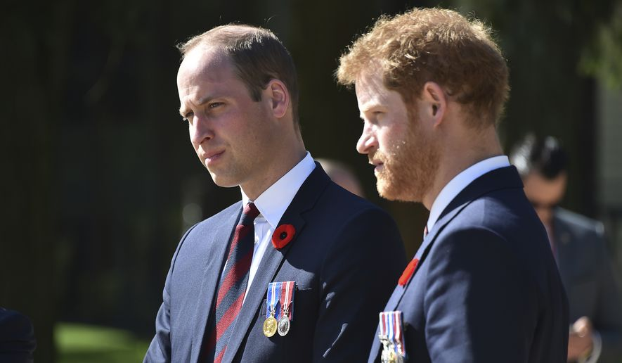 Britain's Prince William, Duke of Cambridge, left, and Britain's Prince Harry arrive at the Canadian National Vimy Memorial in Vimy, near Arras, northern France, to attend the commemorations of the 100th anniversary of the Battle of Vimy Ridge, a World War I battle which was a costly victory for Canada but one that helped shape the former British colony's national identity, Sunday, April 9, 2017. (Philippe Huguen/Pool Photo via AP) ** FILE **