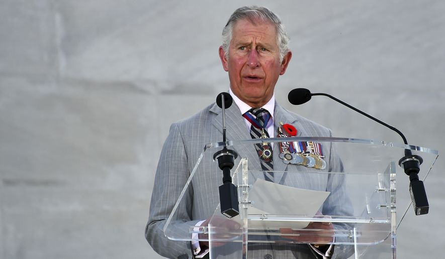 Britain's Charles, Prince of Wales, addresses the audience during a ceremony marking the 100th anniversary of the Battle of Vimy Ridge at the WWI Canadian National Vimy Memorial in Vimy, France, Sunday, April 9, 2017. (Philippe Huguen/Pool Photo via AP)