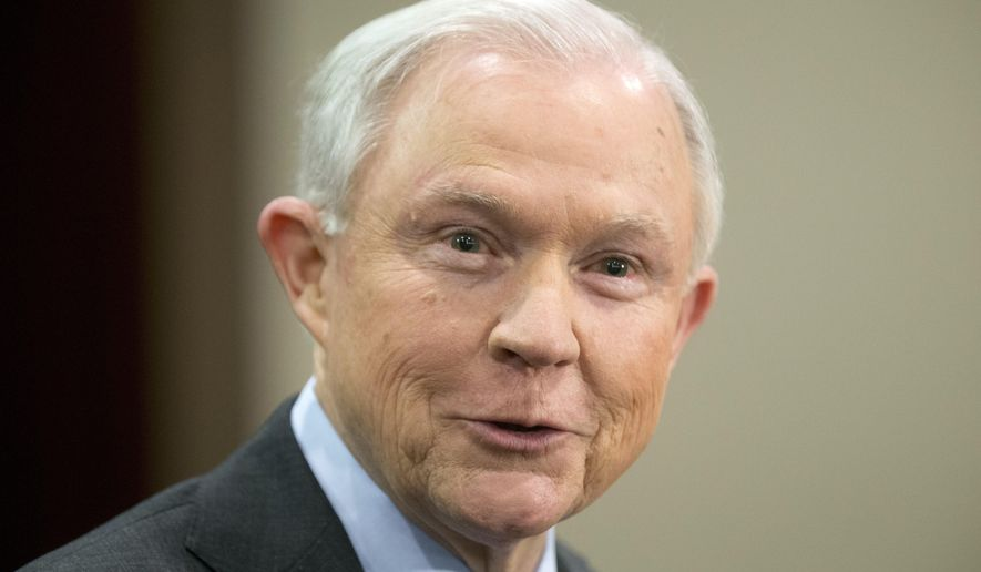 FILE - In this March 15, 2017, file photo, Attorney General Jeff Sessions speaks to law enforcement officers in Richmond, Va. Sessions favors decades-old drug and crime-fighting strategies, even as some people involved in criminal justice during that time have come to believe they went too far, for too long. (AP Photo/Steve Helber, File)