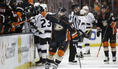Anaheim Ducks' Patrick Eaves, center, celebrates his goal with teammates during the first period of an NHL hockey game against the Los Angeles Kings, Sunday, April 9, 2017, in Anaheim, Calif. (AP Photo/Jae C. Hong)