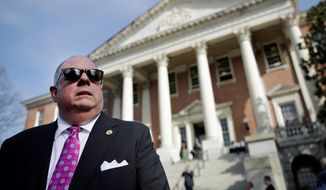 """Maryland Gov. Larry Hogan held a news conference outside the State House in Annapolis on Monday, the final day of the legislative session in Annapolis. He had threatened to veto the a bill that would establish Maryland as a """"sanctuary state"""" for illegal immigrants. (Associated Press)"""