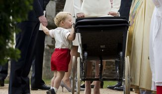 In this Sunday, July 5, 2015, file photo, Britain's Prince George gets up on tiptoes to peek into the pram of Princess Charlotte, flanked by his parents Prince William and Kate the Duchess of Cambridge as they leave after Charlotte's Christening at St. Mary Magdalene Church in Sandringham, England. Kensington Palace said Monday April 10, 2017, that George, 3, and Charlotte, 1, will be page boy and bridesmaid at the May 20 nuptials of Pippa Middleton and financier James Matthews. (AP Photo/Matt Dunham, file)