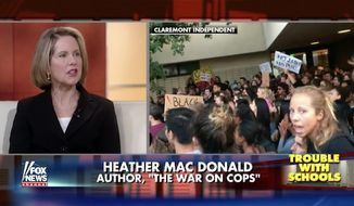 "Pro-police author Heather Mac Donald slammed the ""outbreak of student totalitarianism"" after her speech at Claremont McKenna College in Oakland, California, was shut down by leftist protesters. (Image: Screen shot of Fox News) ** FILE **"