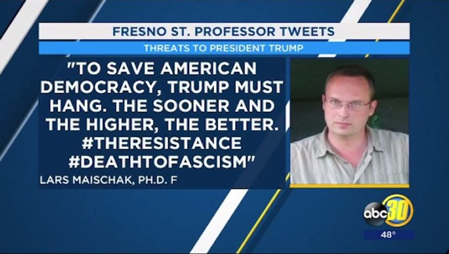 """Lars Maischak, an American History lecturer at California State University, Fresno, is facing backlash over a February tweet that declared President Trump """"must hang."""" (ABC 30)"""