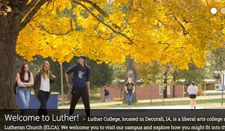 Students at Luther College in Iowa are demanding bi-monthly transportation, free of charge, to a mosque in Minnesota. (Luther College landing page screenshot) ** FILE **