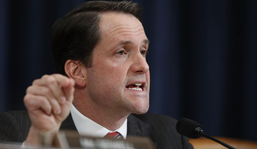 House Intelligence Committee member Rep. Jim Himes, D-Conn., questions then-FBI Director James B. Comey and National Security Agency Director Michael Rogers on Capitol Hill in Washington, during the committee's hearing regarding allegations of Russian interference in the 2016 U.S. presidential election. AP Photo/Manuel Balce Ceneta) ** FILE **