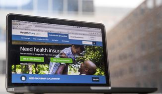 In this Feb. 9, 2017, file photo, the HealthCare.gov website, where people can buy health insurance, is displayed on a laptop screen in Washington. (AP Photo/Andrew Harnik, File)