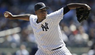 New York Yankees starting pitcher Michael Pineda throws during the second inning of the baseball game against the Tampa Bay Rays at Yankee Stadium, Monday, April 10, 2017, in New York. (AP Photo/Seth Wenig)