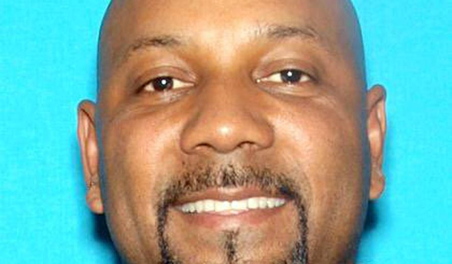This undated photo released by the San Bernardino Police Department shows Cedric Anderson, 53. Anderson has been identified by authorities as the person who shot to death Karen Elaine Smith, 53, identified as his wife, as she taught a special education class at North Park Elementary School in San Bernardino, Calif., Monday, April 10, 2017. (San Bernardino Police Department via AP)