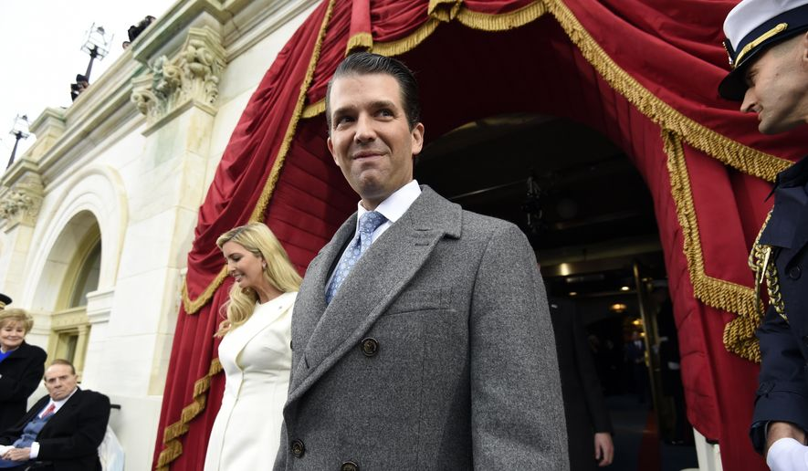 Donald Trump Jr. and Ivanka Trump arrive on Capitol Hill in Washington for the presidential inauguration of their father, Donald Trump, on  Jan. 20, 2017. (Associated Press) **FILE**