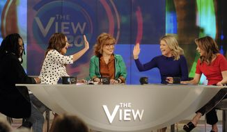 "In this Feb. 28, 2017, photo released by ABC, co-hosts, from left, Whoopi Goldberg, Sunny Hostin, Joy Behar, Sara Haines and Jedediah Bila appear during a broadcast of, ""The View,"" in New York. The unquenchable thirst for chatter about President Donald Trump has changed the dynamics of a fierce daytime television competition much as it has in late-night TV. ""The View"" has spent more time talking politics with the arrival of a new administration, stopping the momentum of its rival ""The Talk,"" which sticks to pop culture. (Paula Lobo/ABC via AP)"