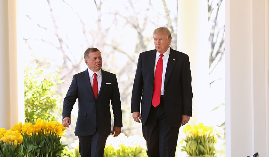 President Donald Trump and Jordan's King Abdullah II walk to their news conference in the Rose Garden at the White House in Washington, Wednesday, April 5, 2017. (AP Photo/Andrew Harnik) ** FILE **
