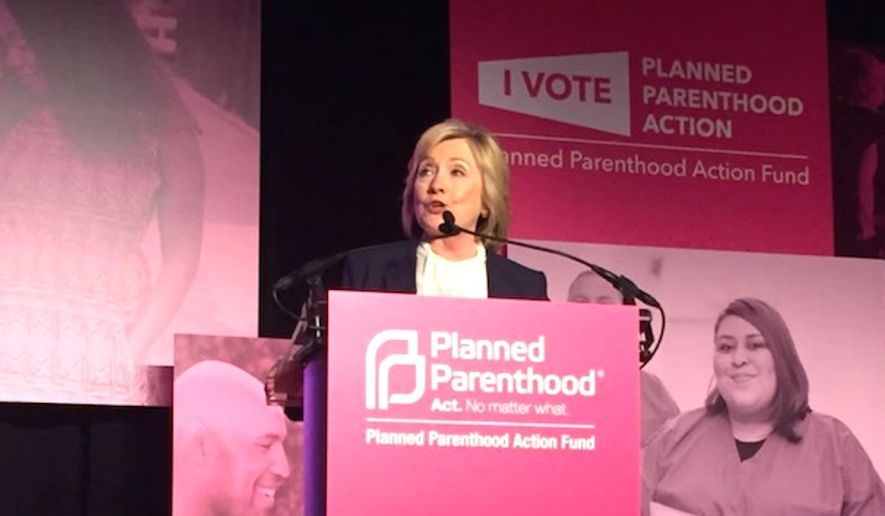 "Hillary Clinton will be honored with Planned Parenthood's ""Champion of the Century Award"" at an event in New York City on May 2, 2017. (Twitter, Planned Parenthood) ** FILE **"