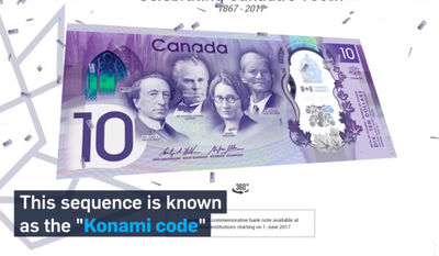 "A screen capture from a CTV News video explaining a ""cheat code"" that unlocks a special feature on a Bank of Canada website debuting the new $10 note to be released in honor of the country's 150th birthday. (CTVNews.ca)"
