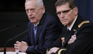 Defense Secretary Jim Mattis, joined by Gen. Joseph Votel, speaks during a news conference at the Pentagon, Tuesday, April 11, 2017. Mattis said the campaign against the Islamic State group is still the main focus of the U.S. in Syria and remains on track. (AP Photo/Carolyn Kaster)