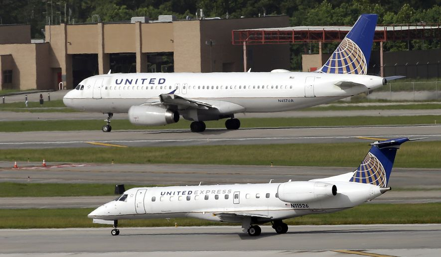 FILE - In this July 8, 2015, file photo, United Airlines and United Express planes prepare to takeoff at George Bush Intercontinental Airport in Houston. After a man is dragged off a United Express flight on Sunday, April 9, 2017, United Airlines becomes the butt of jokes online and on late-night TV. Travel and public-relations experts say United has fumbled the situation from the start, but its impossible to know if the damage is temporary or lasting. Air travelers are drawn to the cheapest price no matter the name on the plane. (AP Photo/David J. Phillip, FIle)