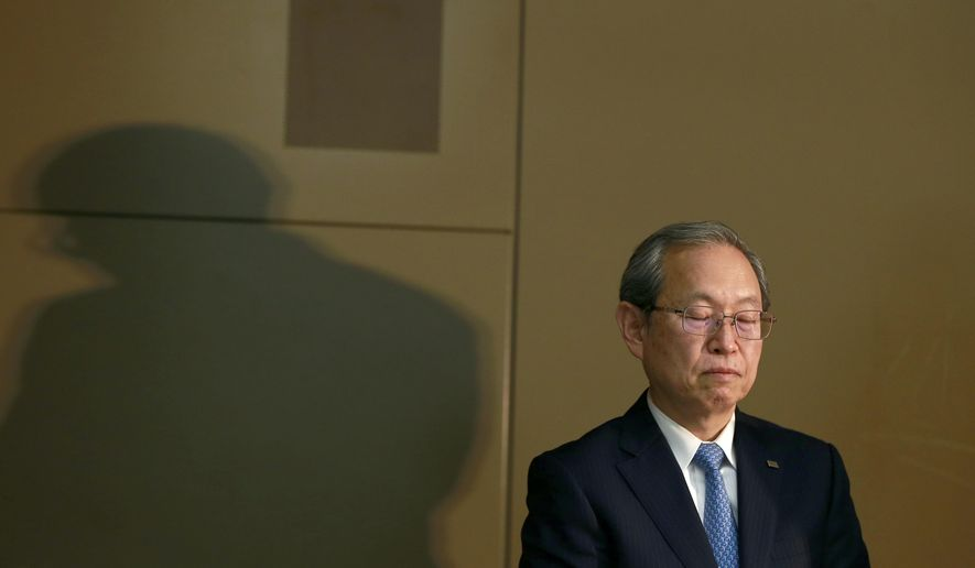 "Toshiba Corp. President Satoshi Tsunakawa listens to a reporter's question during a press conference at the company's headquarters in Tokyo, Tuesday, April 11, 2017. Toshiba, whose U.S. nuclear unit Westinghouse Electric Co. has filed for bankruptcy protection, reported unaudited earnings Tuesday and projected a 1.01 trillion yen ($9.2 billion) loss for the fiscal year that ended in March. Tsunakawa apologized again for the problems but said he did not foresee a need for any dramatic revisions in the earnings report. He called the auditor's decision not to approve it ""truly regrettable."" (AP Photo/Shizuo Kambayashi)"
