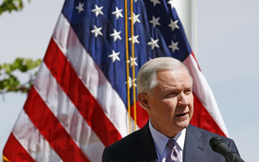 """Attorney General Jeff Sessions """"a new era"""" of immigration enforcement after touring the U.S.-Mexico borderin Nogales, Arizona, on Tuesday. (Associated Press)"""