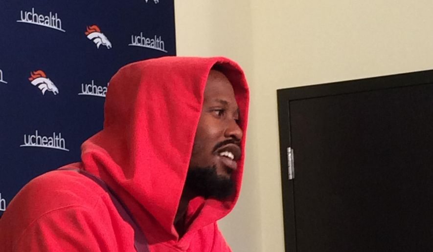 Denver Broncos NFL football linebacker Von Miller meets with the media at the team's headquarters in Englewood, Colo., Tuesday, April 11, 2017. Miller predicts he'll have his best season in 2017 because he's participating in the Broncos' offseason program. Miller missed Denver's entire offseason workout program last season while involved in a contract stalemate following his Super Bowl 50 MVP performance. (AP Photo/Arnie Stapleton).
