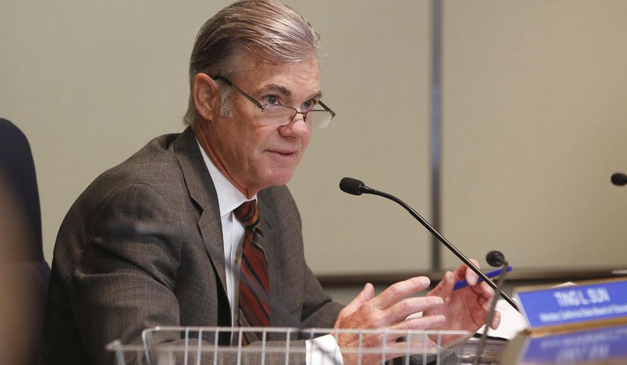 FILE - In this July 14, 2016, Tom Torlakson, the California superintendent of public instruction, discusses proposes to broaden the curriculum of California's history and social science classes during a meeting of the State Board of Education in Sacramento, Calif. Torlakson announced Tuesday, April 11, 2017, that just over 83 percent of California students in the class of 2016 graduated on time from public high schools. That's up about 1 percentage point from the class of 2015. (AP Photo/Rich Pedroncelli, File)