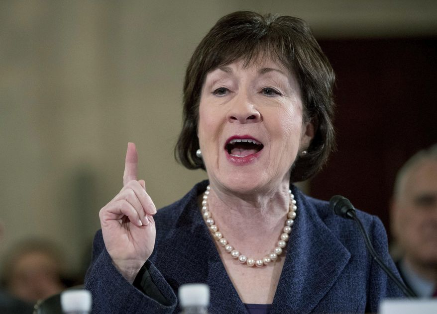 The House attempt to punish Planned Parenthood remains a sticking point for Sen. Susan M. Collins, Maine Republican, who said Sunday that it would be a mistake to defund the abortion provider. (Associated Press/File)