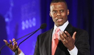 FILE - In this April 8, 2010, file photo, former U.S. Congressman J.C. Watts addresses the Southern Republican Leadership Conference in New Orleans. Watts is suing the Oklahoma City-based nonprofit Feed the Children, alleging he was fired from his role as CEO and president in retaliation for reporting problems at the charity to the state attorney general's office. Watts abruptly left Feed the Children in November 2016, less than 10 months into his three-year contract. (AP Photo/Bill Haber, File)