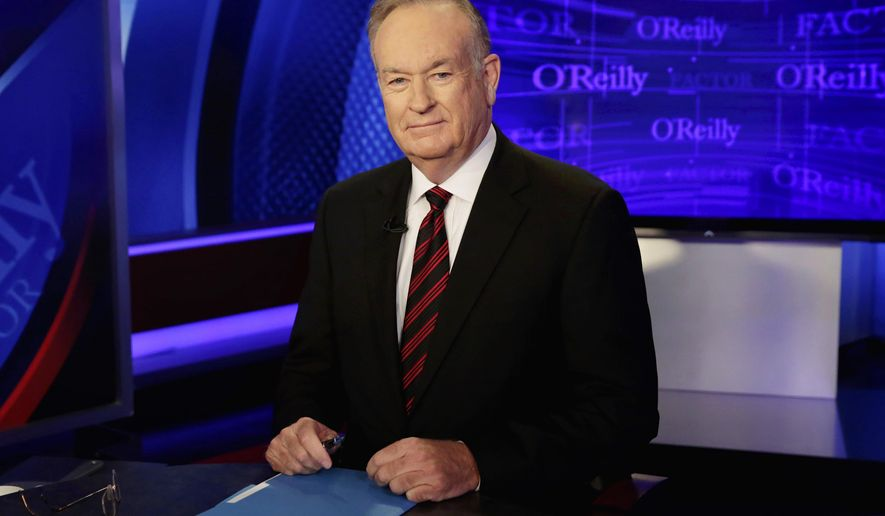 """FILE - In this Oct. 1, 2015 file photo, host Bill O'Reilly of """"The O'Reilly Factor"""" on the Fox News Channel, poses for photos in the set in New York. While advertisers may be fleeing Bill O'Reilly's """"no spin zone"""" on Fox News Channel, viewers are remaining loyal. """"The O'Reilly Factor"""" averaged 3.71 million viewers over five nights last week, the Nielsen company said. That's up 12 percent from the 3.31 million viewers he averaged the week before and up 28 percent compared to the same week in 2016. (AP Photo/Richard Drew, File)"""