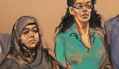 """In this April 2, 2015 courtroom sketch, defendants Noelle Velentzas, left and Asia Siddiqui, appear at federal court in New York after they were arrested for plotting to build a homemade bomb and wage jihad in New York City. By combing the web, attorneys for the two defendants say they have obtained a photograph and learned the real name of the undercover agent who helped nab the women by assumed a fake identity and going by the name """"Mel."""" And recently the attorneys got a judge's approval for a plan to circulate her picture at area mosques to try to build a case that their clients were entrapped. (AP Photo/Jane Rosenberg, File)"""