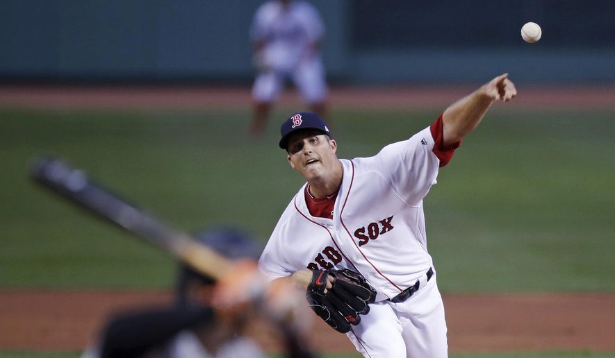 Boston Red Sox starting pitcher Drew Pomeranz delivers during the first inning of the team's baseball game against the Baltimore Orioles at Fenway Park in Boston, Tuesday, April 11, 2017. (AP Photo/Charles Krupa)