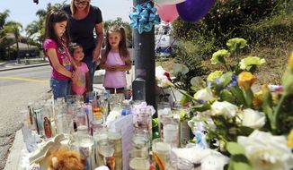 Lena Hammerling and her daughters Melissa, left, and Maci, right, and an unidentified child look at a sidewalk memorial dedicated to the teacher and student who were shot to death Monday at North Park Elementary School in San Bernardino, Calif., Tuesday, April 11, 2017.  (AP Photo/Reed Saxon)