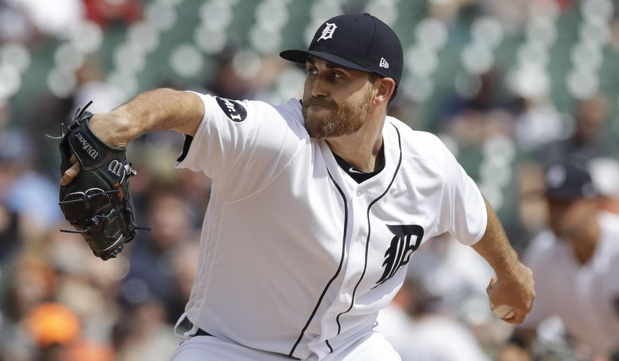 Detroit Tigers starting pitcher Matthew Boyd throws during the fifth inning of a baseball game against the Minnesota Twins, Tuesday, April 11, 2017, in Detroit. (AP Photo/Carlos Osorio)