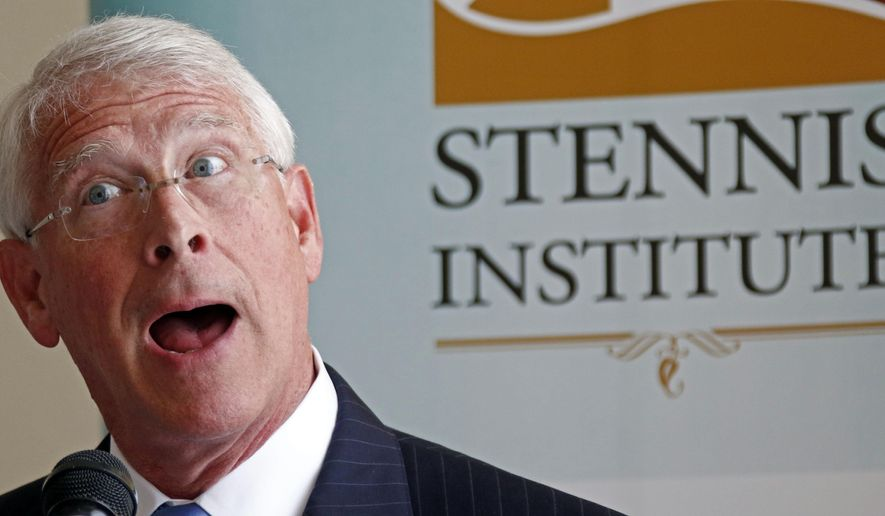 U.S. Sen. Roger Wicker, R-Miss., speaks in support of President Trump's actions against Syria, Tuesday, April 11, 2017, during an address at a lunch sponsored by the Stennis Institute-Capitol Press Corps, in Jackson, Miss. (AP Photo/Rogelio V. Solis)