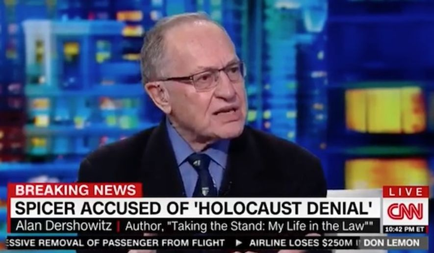 Alan Dershowitz, a prominent Harvard Law School professor and liberal author, slammed the Democratic National Committee as hypocritical for politicizing White House press secretary Sean Spicer's Hitler gaffe while ignoring its own problem with anti-Semitism. (CNN)