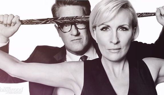 """MSNBC's """"Morning Joe"""" hosts Mika Brzezinski and Joe Scarborough pose for a photo shoot put together by The Hollywood Reporter. (Image: The Hollywood Reporter video screenshot) ** FILE **"""