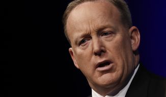 "White House press secretary Sean Spicer speaks at the Newseum in Washington, Wednesday, April 12, 2017, during ""The President and the Press: The First Amendment in the First 100 Days"" forum. (AP Photo/Carolyn Kaster)"