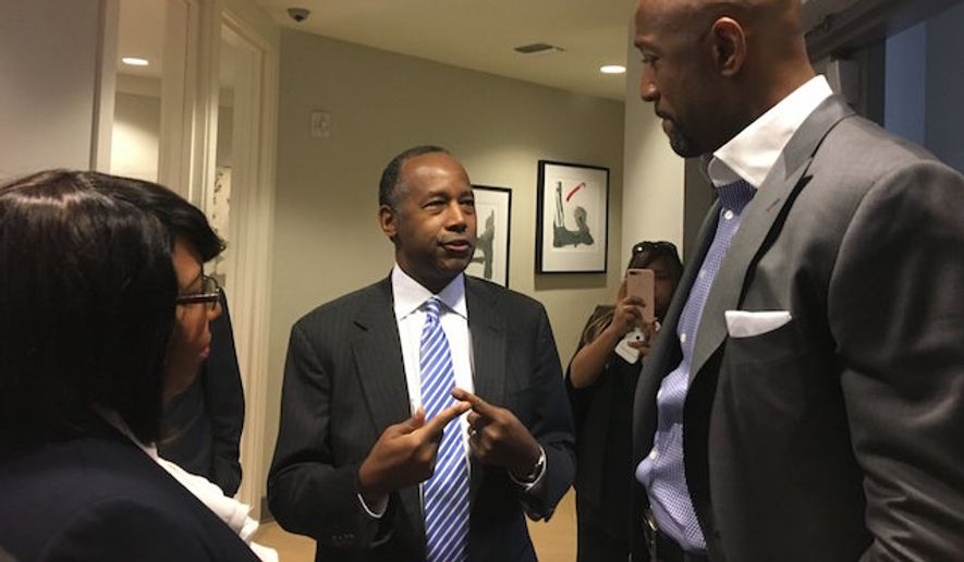 Housing and Urban Development Secretary Ben Carson and his wife had to be rescued from a stalled elevator Wednesday morning while touring a public housing complex in Miami. (Twitter/@SecretaryCarson)
