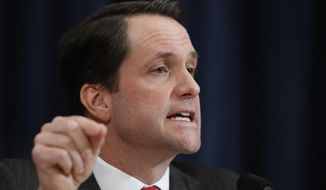 In this March 20, 2017, file photo, House Intelligence Committee member Rep. Jim Himes, D-Conn., questions FBI Director James Comey and National Security Agency Director Michael Rogers on Capitol Hill in Washington, during the committee's hearing regarding allegations of Russian interference in the 2016 U.S. presidential election. (AP Photo/Manuel Balce Ceneta)