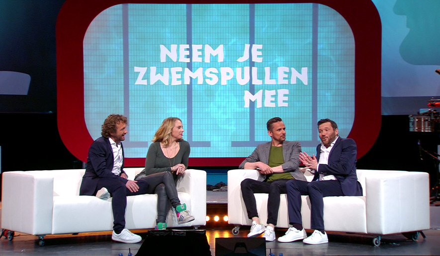 "A still image from the Dutch program ""Neem Je Zwemspullen Mee,"" which on April 9 aired a segment asking contestants to guess if a woman was pregnant or simply overweight."