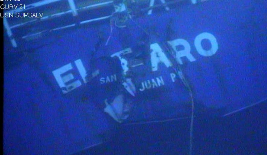FILE - This undated image made from a video released April 26, 2016, by the National Transportation Safety Board shows the stern of the sunken ship El Faro. Amid howling winds, blinding squalls and massive waves, the freighter El Faro and its crew struggled for survival _ unaware that their course was taking them directly into the path of Hurricane Joaquin. All 33 crew members were killed. (National Transportation Safety Board via AP, File)
