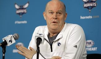 Charlotte Hornets head coach Steve Clifford speaks to the media during a news conference in Charlotte, N.C., Wednesday, April 12, 2017. The Hornets' season ended Tuesday with a loss to Atlanta. (AP Photo/Chuck Burton)