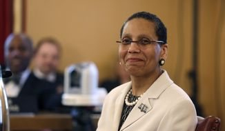 In this April 30, 2013, file photo, Judge Sheila Abdus-Salaam looks on as members of the state Senate Judiciary Committee vote unanimously to advance her nomination to fill a vacancy on the Court of Appeals at the Capitol in Albany, N.Y. The New York City Police Department confirmed that Abdus-Salaam's body was found on the shore of the Hudson River off Manhattan on Wednesday, April 12, 2017. (AP Photo/Mike Groll, File)