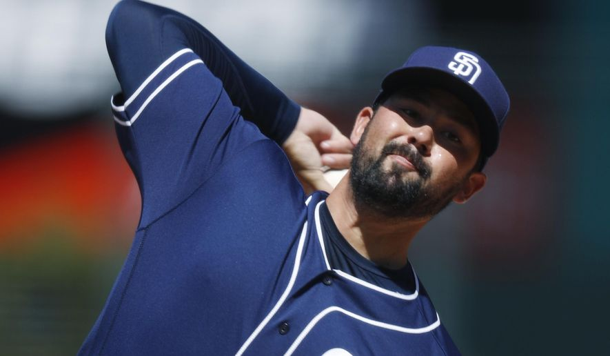 San Diego Padres starting pitcher Zach Lee delivers a pitch to Colorado Rockies' Carlos Gonzalez in the first inning of a baseball game Wednesday, April 12, 2017, in Denver. (AP Photo/David Zalubowski)